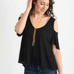 Free People Top Cold Shoulder Black Size Large NWT